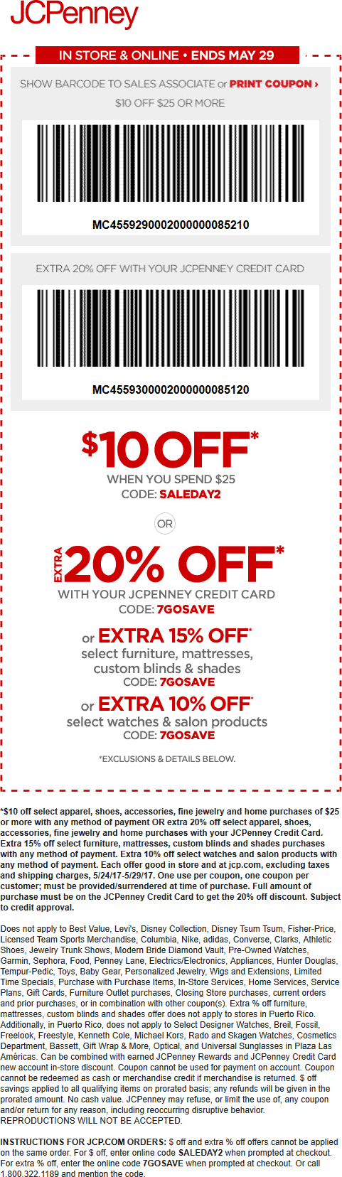 JCPenney.com Promo Coupon $10 off $25 at JCPenney, or online via promo code SALEDAY2