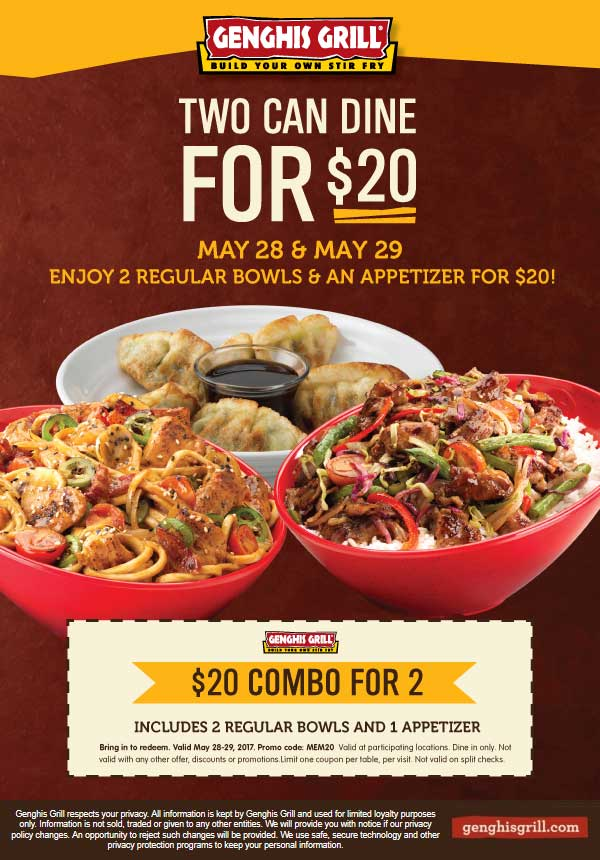 Genghis Grill Coupon October 2018 2 bowls + appetizer = $20 at Genghis Grill