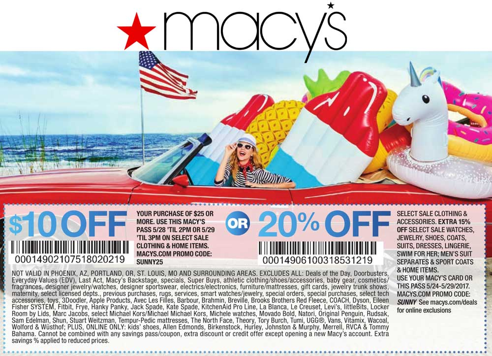 Macys Coupon August 2018 $10 off $25 & more at Macys, or online via promo code SUNNY25