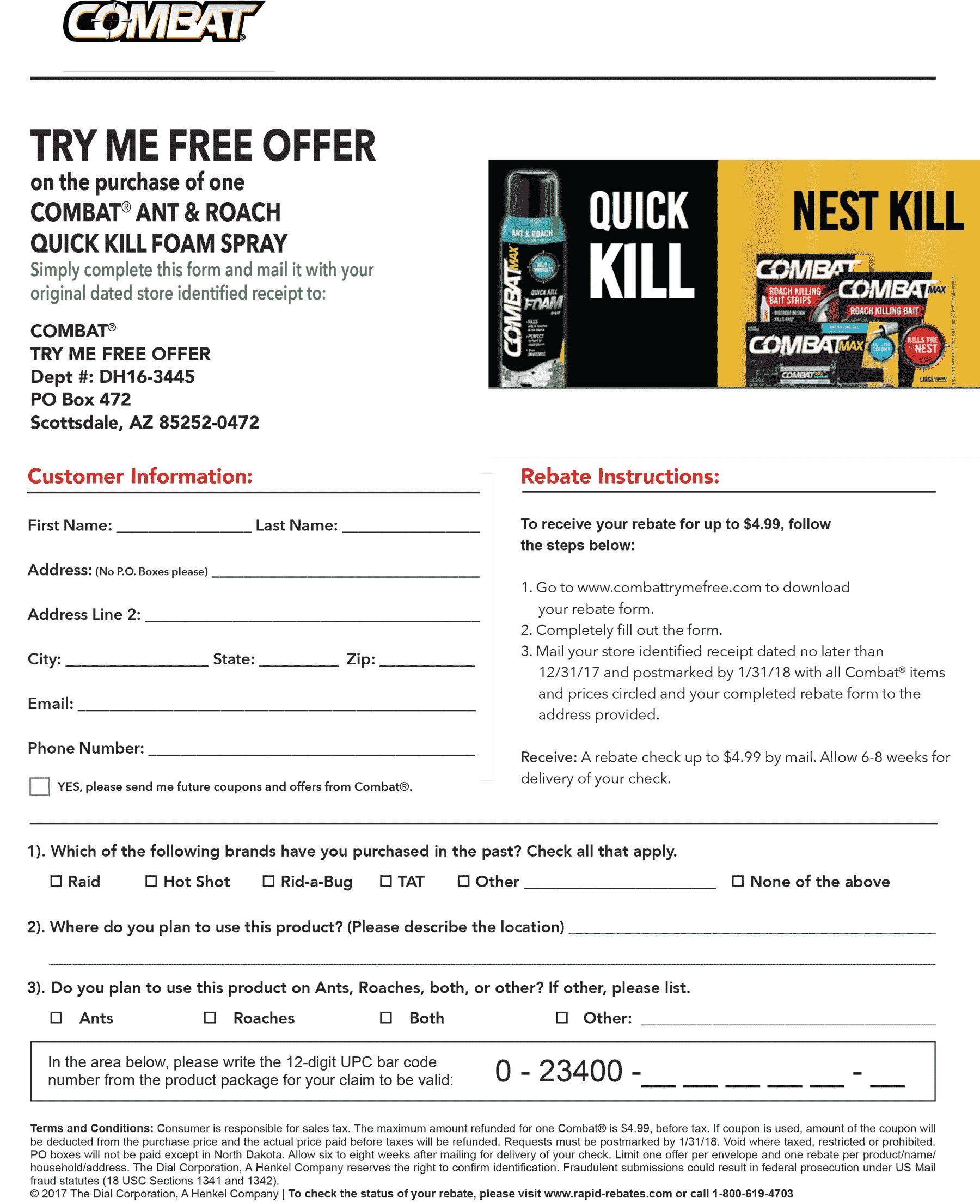 Rebate Coupon November 2017 Free ant killer via Rebate