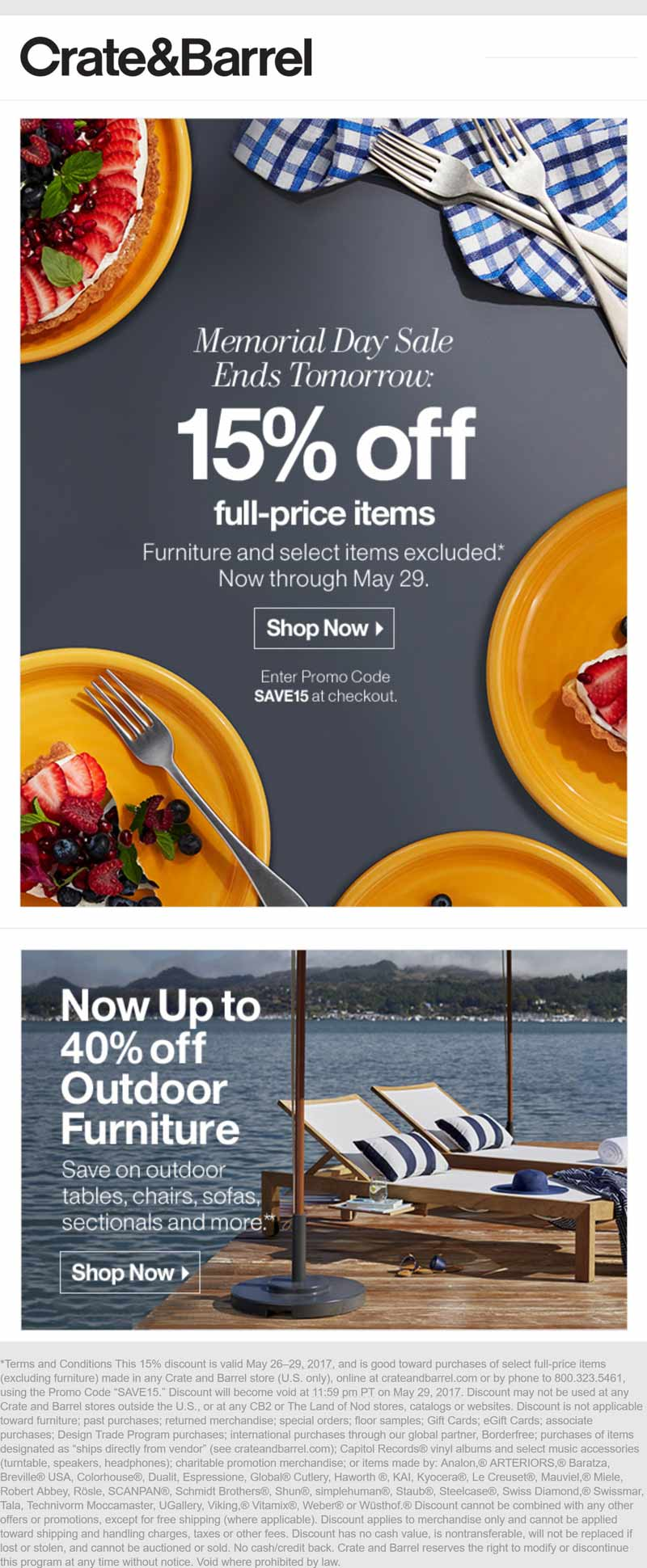 Crate & Barrel Coupon March 2019 15% off at Crate & Barrel, or online via promo code SAVE15
