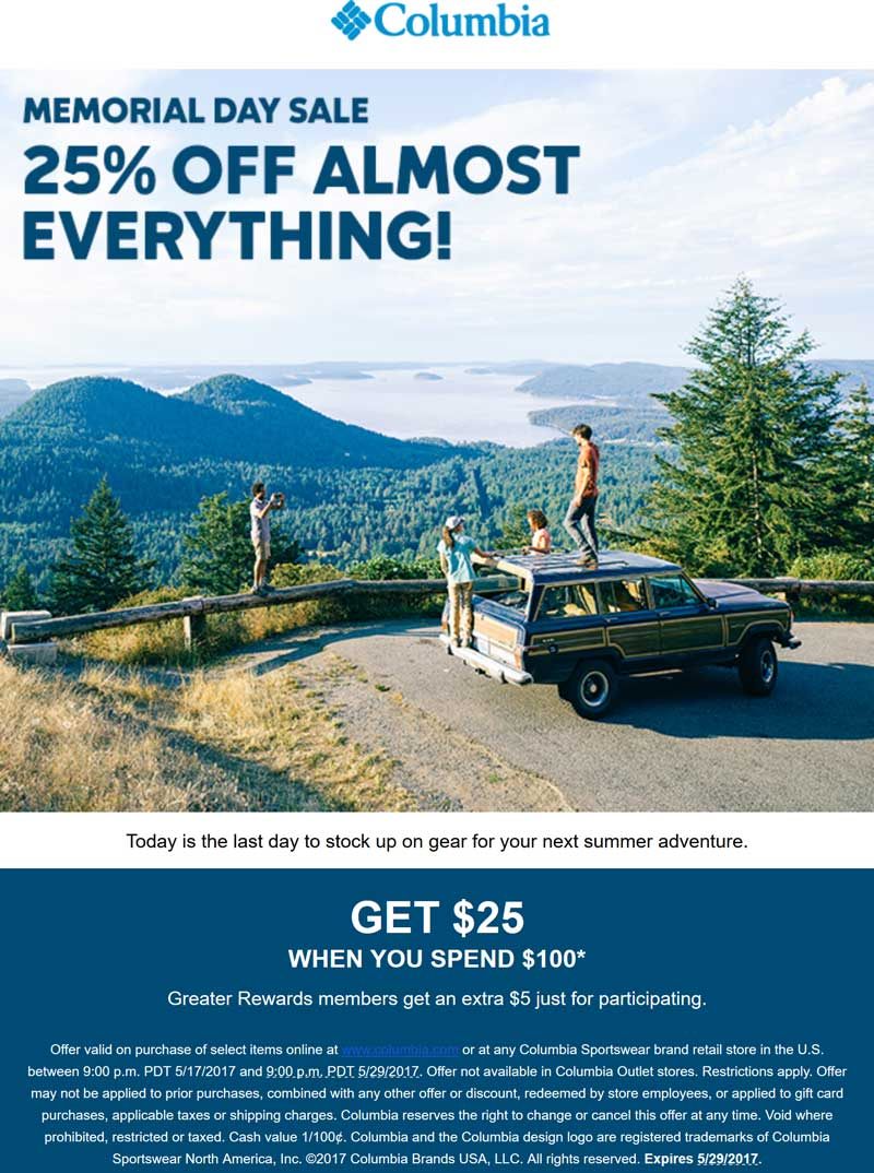 Columbia.com Promo Coupon 25% off today at Columbia Sportswear, ditto online