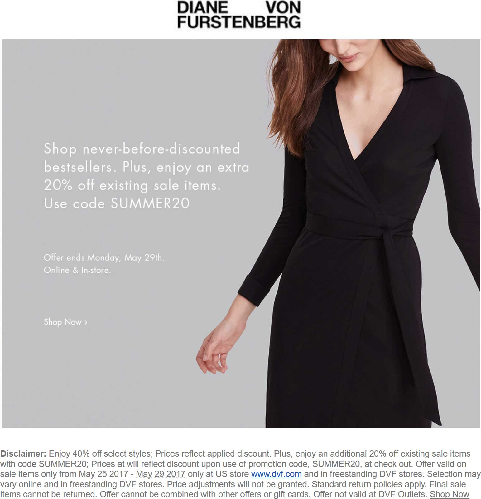 Diane Von Furstenberg Coupon March 2019 Extra 20% off sale items today at DVF, or online via promo code SUMMER20