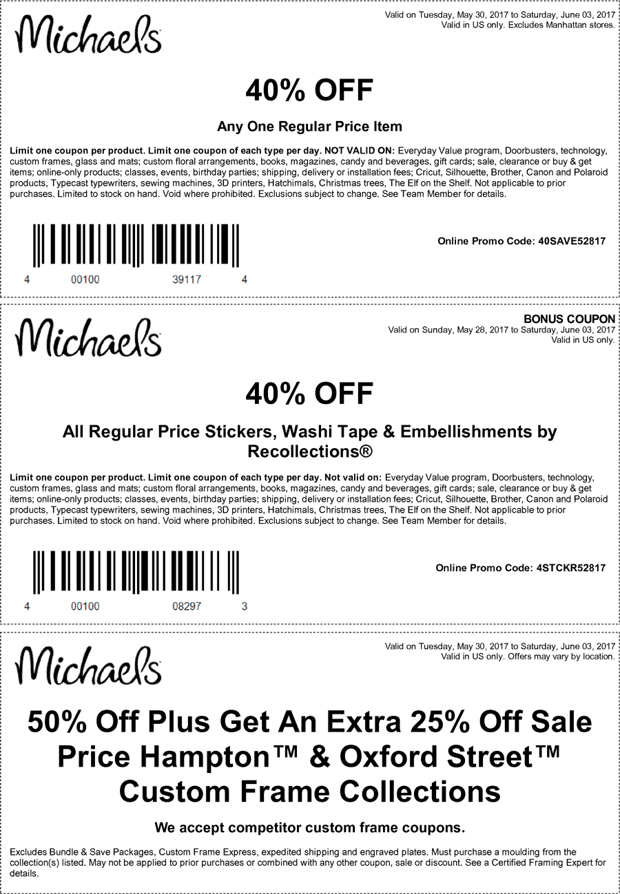 Michaels Coupon August 2018 40% off a single item at Michaels, or online via promo code 40SAVE52817
