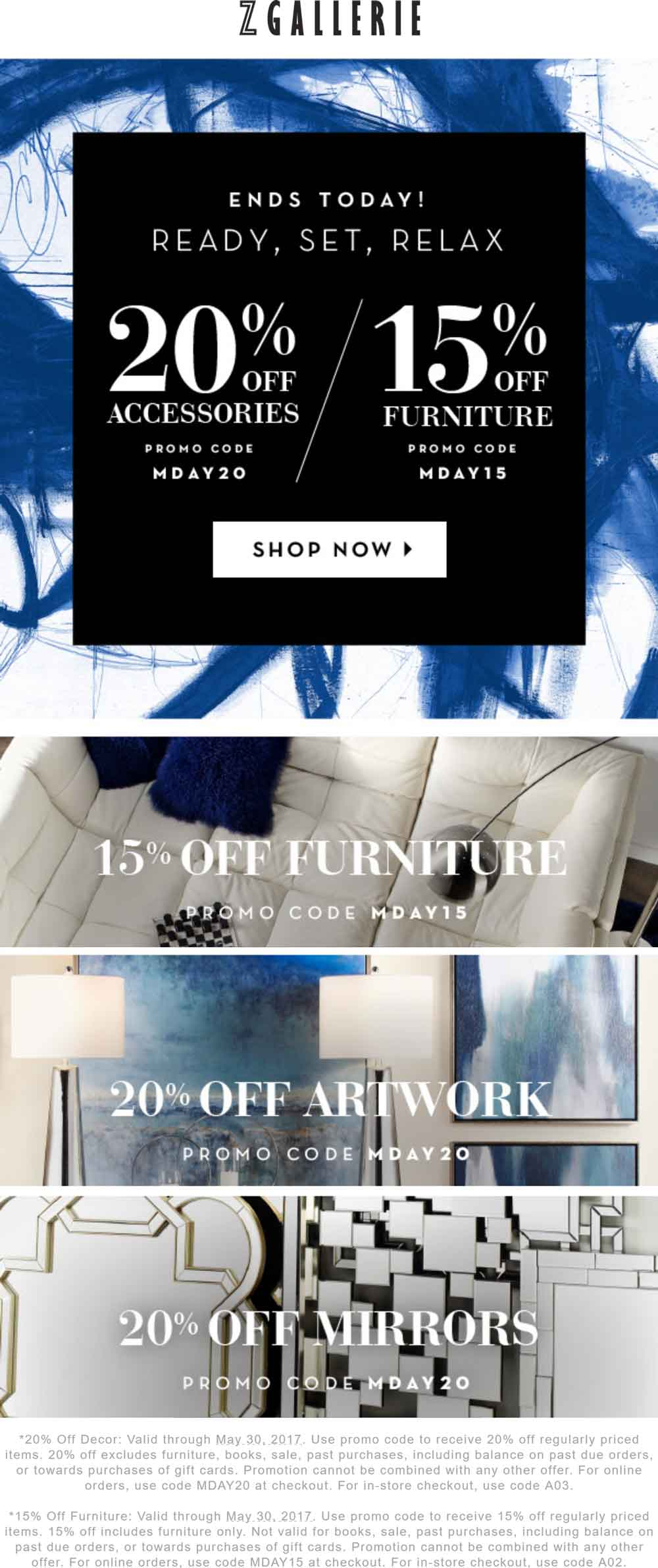 ZGallerie.com Promo Coupon 15-20% off today at Z Gallerie, or online via promo code MDAY20