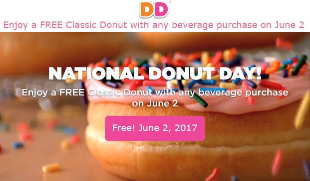 Dunkin Donuts Coupon December 2018 Free doughnut with your drink Friday at Dunkin Donuts