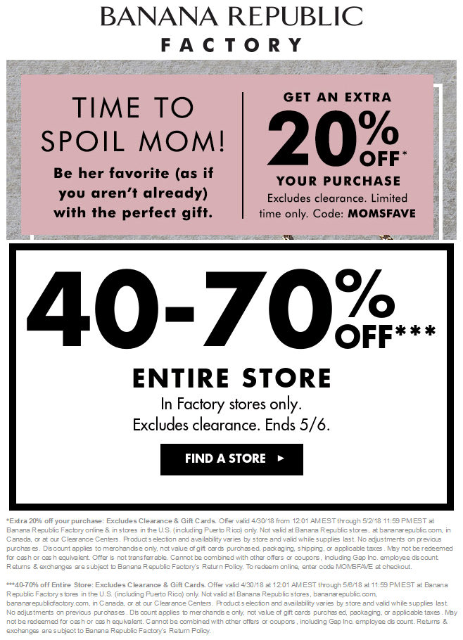 Banana Republic Factory Coupon January 2019 40-70% off & more at Banana Republic Factory, or online via promo code MOMSFAVE