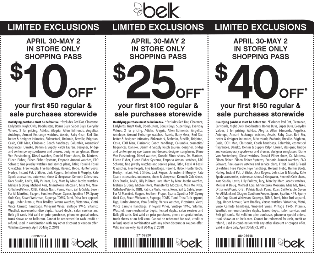Belk Coupon December 2018 $10 off $50 & more at Belk