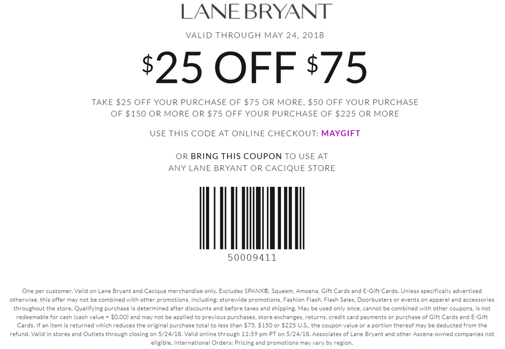 Lane Bryant Coupon September 2018 $25 off $75 at Lane Bryant, or online via promo code MAYGIFT