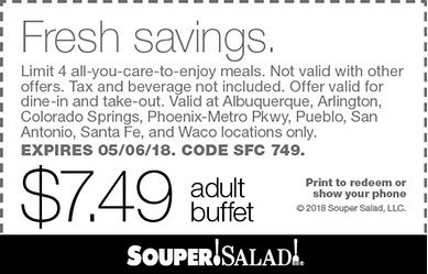 Souper Salad Coupon August 2018 $7.49 bottomless buffet at Souper Salad restaurants