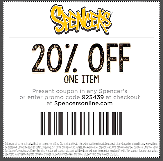 Spencers Coupon December 2018 20% off a single item at Spencers, or online via promo code 923439
