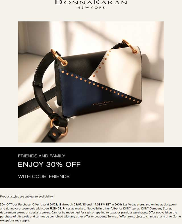 Donna Karan Coupon October 2018 30% off at Donna Karan, or online via promo code FRIENDS