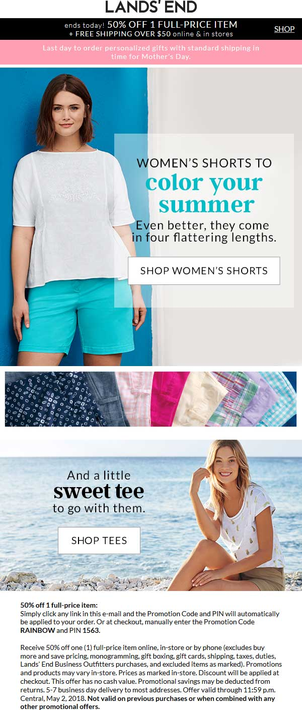 Lands End Coupon August 2018 50% off a single item today at Lands End, or online via promo code RAINBOW and pin 1563