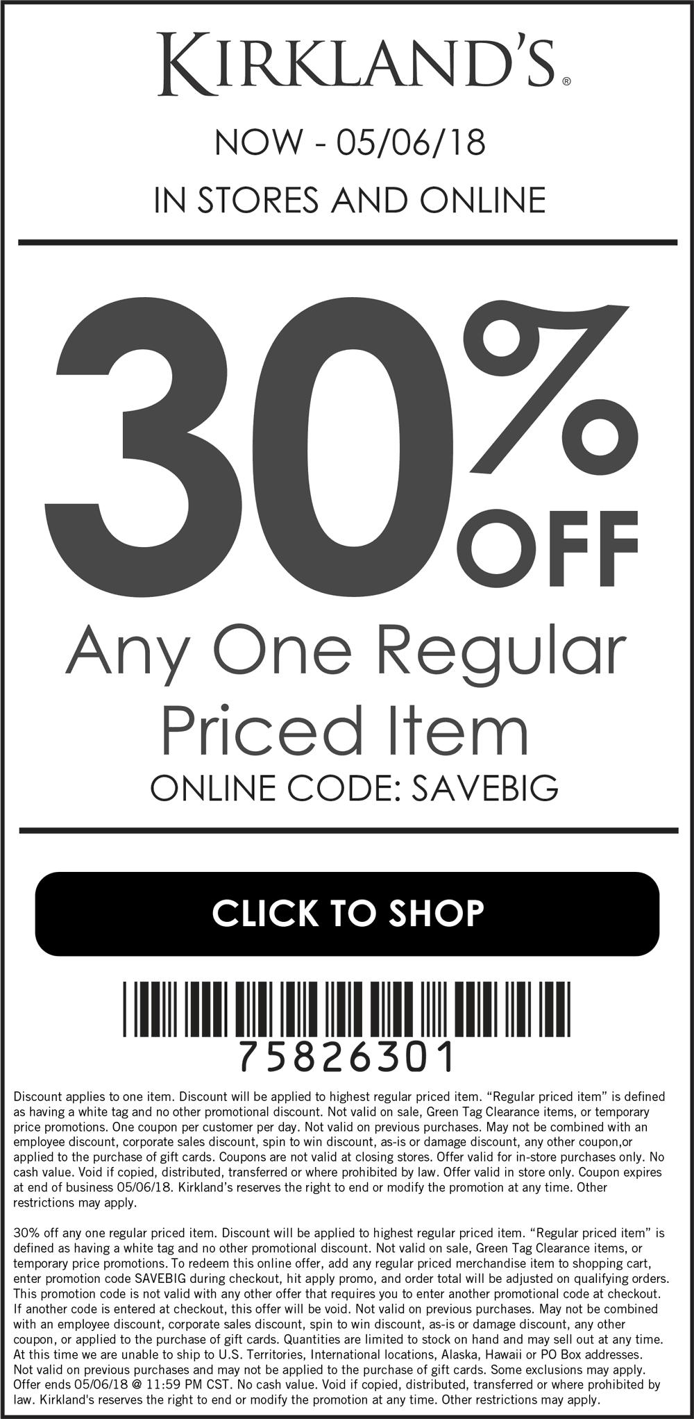 Kirklands Coupon March 2019 30% off a single item at Kirklands, or online via promo code SAVEBIG