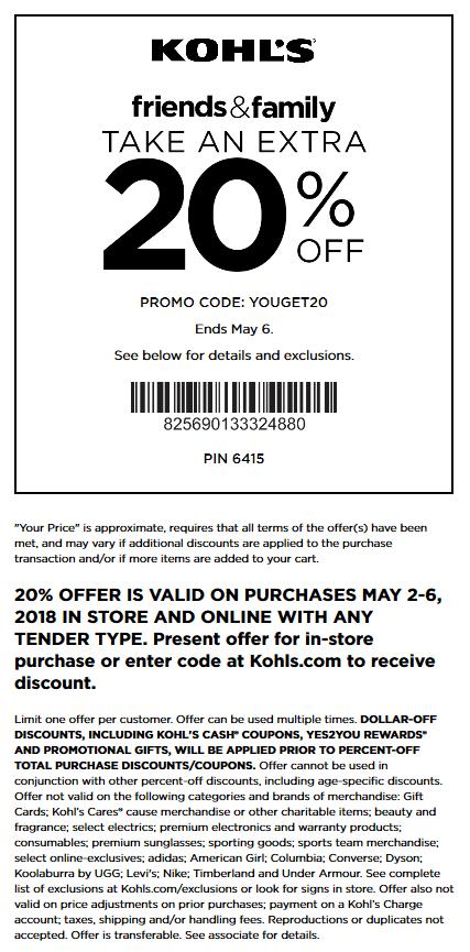 Kohls Coupon March 2019 20% off at Kohls, or online via promo code YOUGET20