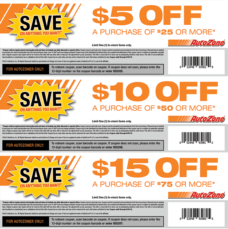 AutoZone.com Promo Coupon $5 off $25 & more at Autozone