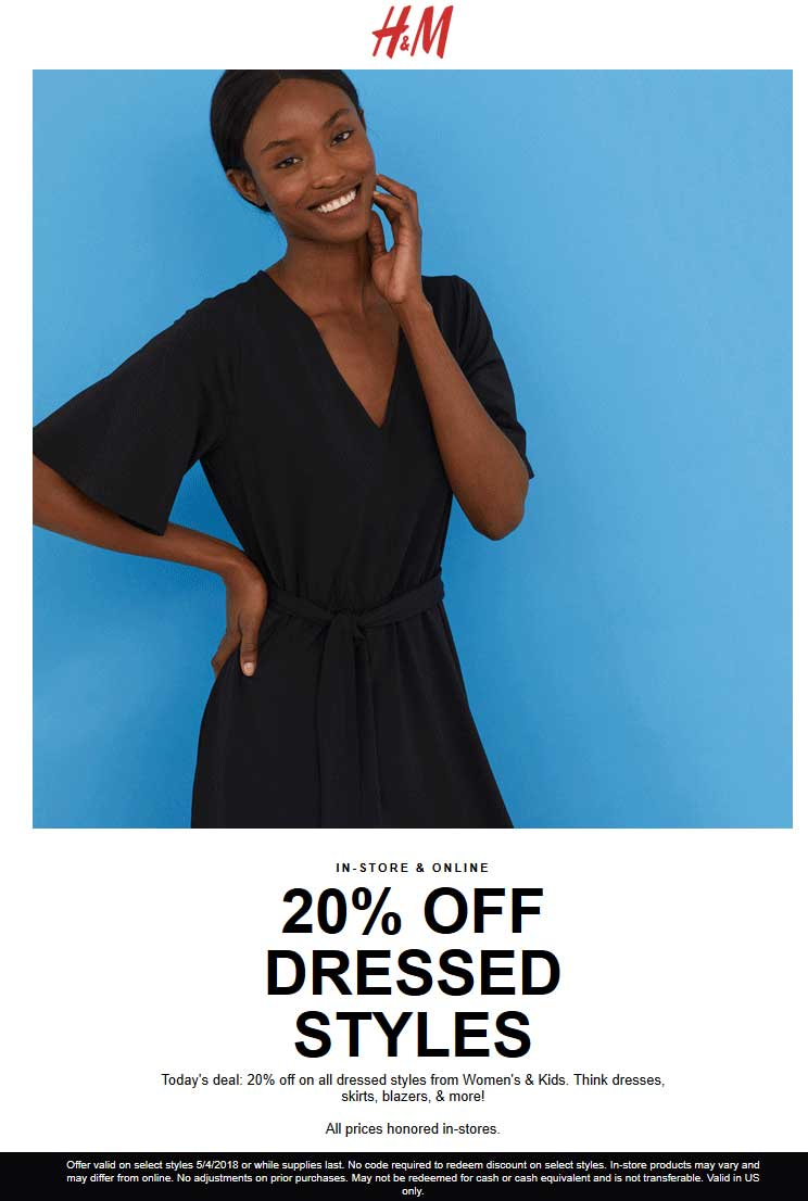H&M Coupon November 2018 20% off dressed styles today at H&M, ditto online