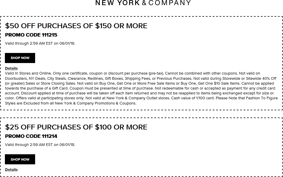New York & Company Coupon May 2019 $50 off $150 at New York & Company, or online via rpomo code 111215