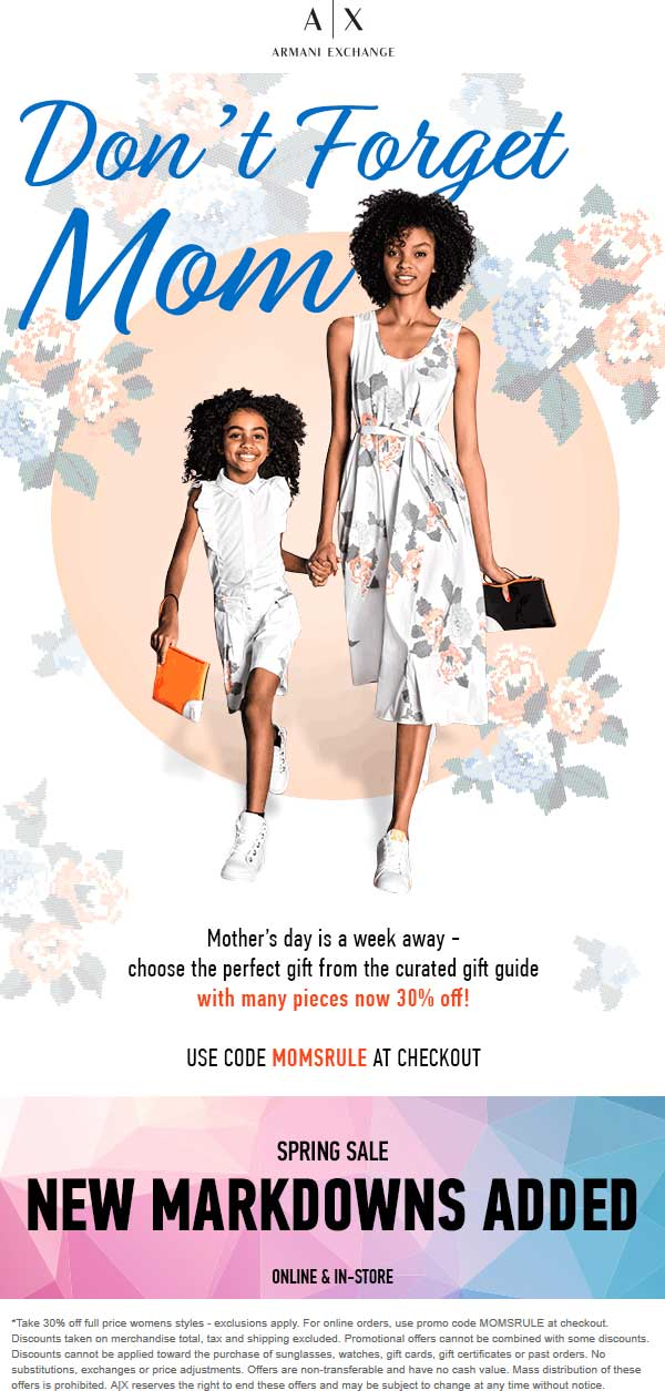 ArmaniExchange.com Promo Coupon 30% off womens at Armani Exchange, or online via promo code MOMSRULE (05/
