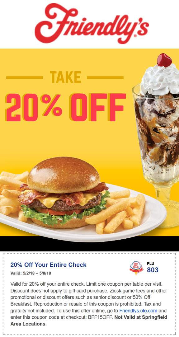 Friendlys Coupon March 2019 20% off at Friendlys restaurants