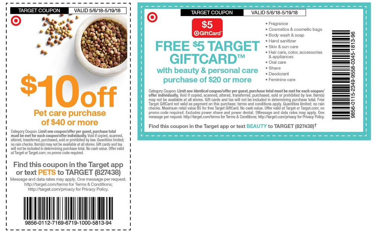Target Coupon August 2018 $10 off $40 on pet care & more at Target