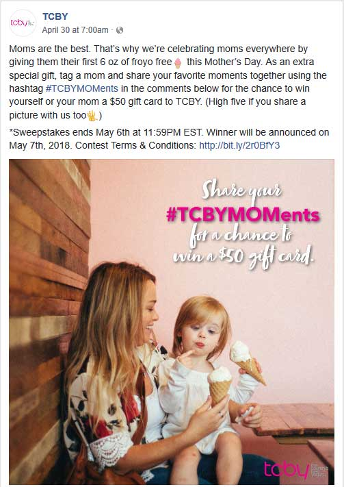 TCBY Coupon October 2018 6oz frozen yogurt free for Mom Sunday at TCBY