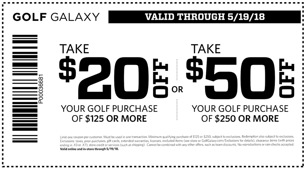 Golf Galaxy Coupon October 2018 $20 off $125 & more at Golf Galaxy