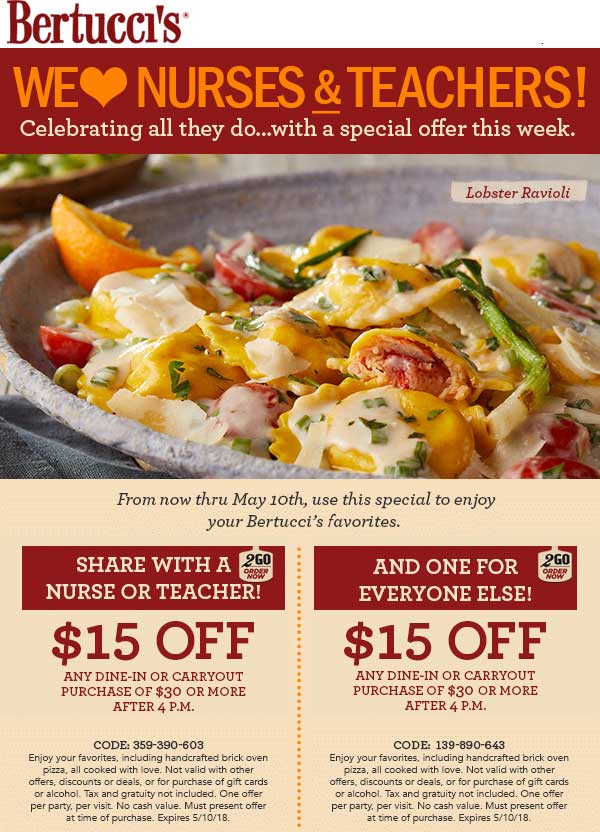Bertuccis.com Promo Coupon $15 off $30 at Bertuccis restaurants