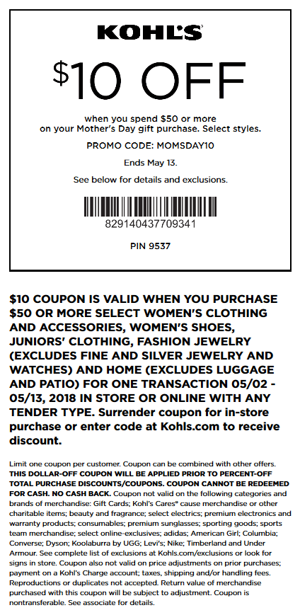 Kohls.com Promo Coupon $10 off $50 on womens at Kohls, or online via promo code MOMSDAY10