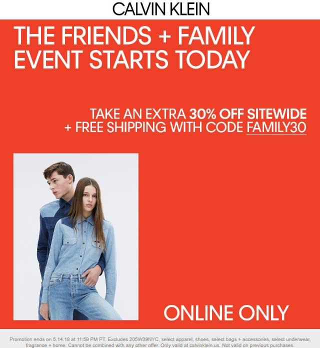 CalvinKlein.com Promo Coupon Extra 30% off online at Calvin Klein via promo code FAMILY30