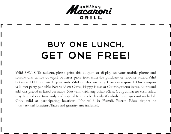 Macaroni Grill Coupon March 2019 Second lunch free today at Macaroni Grill