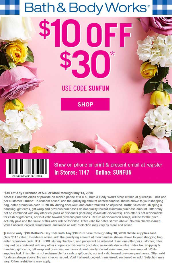 Bath&BodyWorks.com Promo Coupon $10 off $30 at Bath & Body Works, or online via promo code SUNFUN