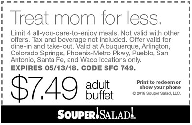Souper Salad Coupon January 2019 Bottomless buffet for $7.49 at Souper Salad restaurants