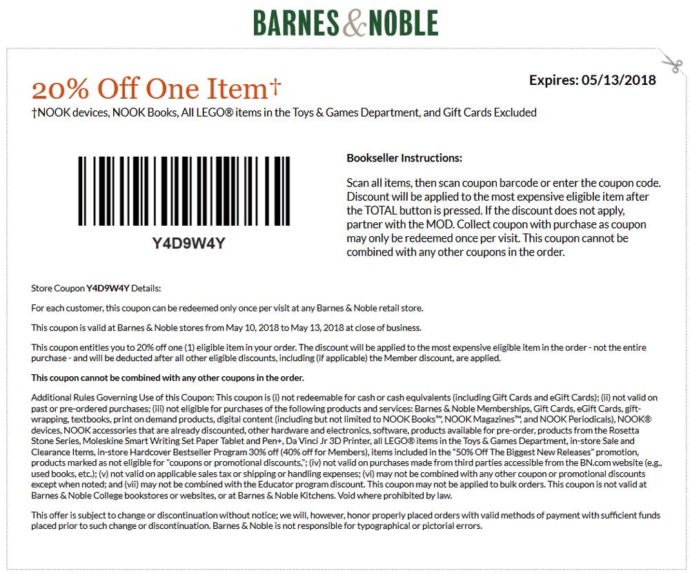 Barnes&Noble.com Promo Coupon 20% off a single item at Barnes & Noble