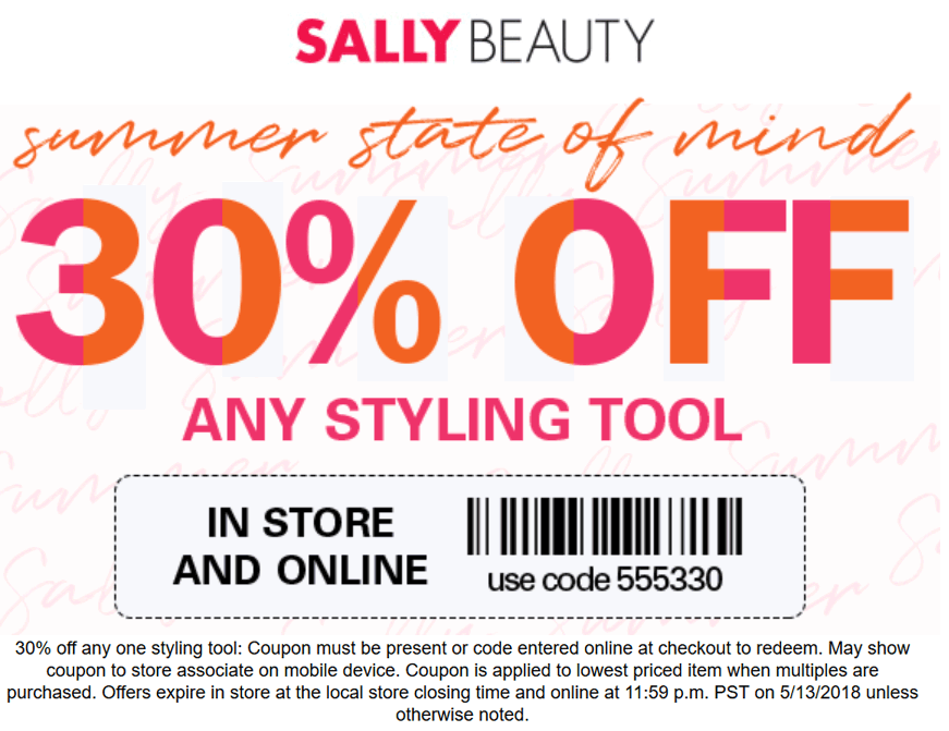 Sally Beauty Coupon August 2018 30% off any styling tool at Sally Beauty, or online via promo code 555330