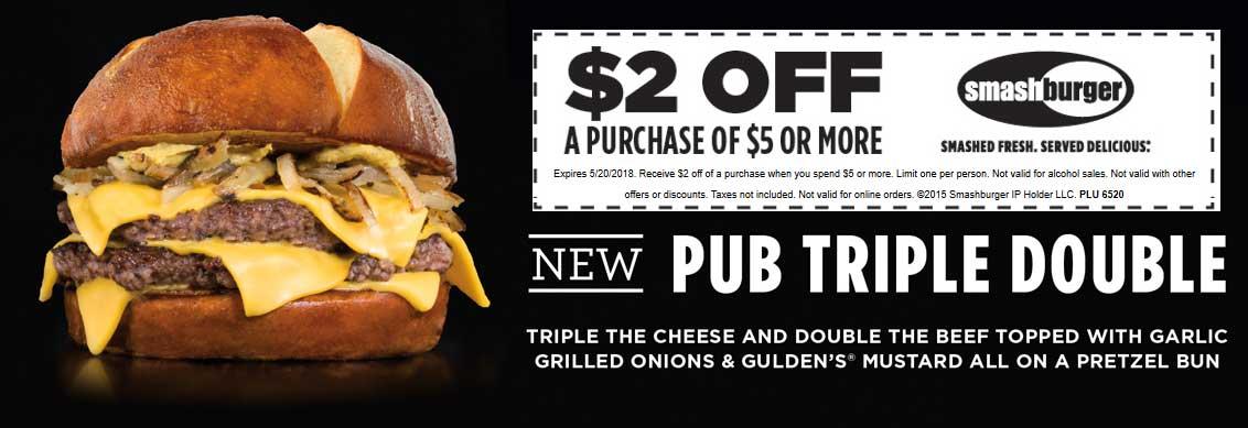 Smashburger.com Promo Coupon $2 off $5 at Smashburger restaurants