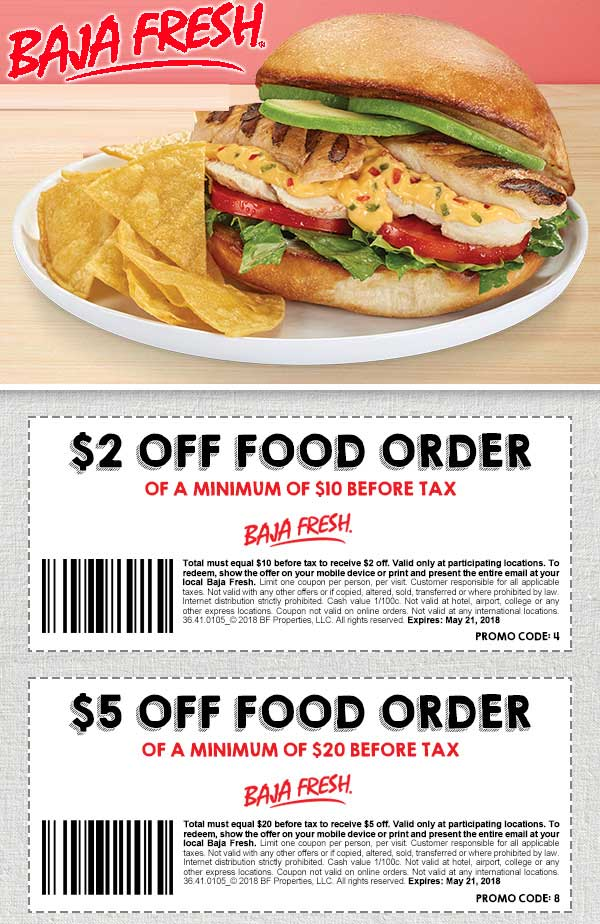 Baja Fresh Coupon August 2018 $2 off $10 & more at Baja Fresh restaurants