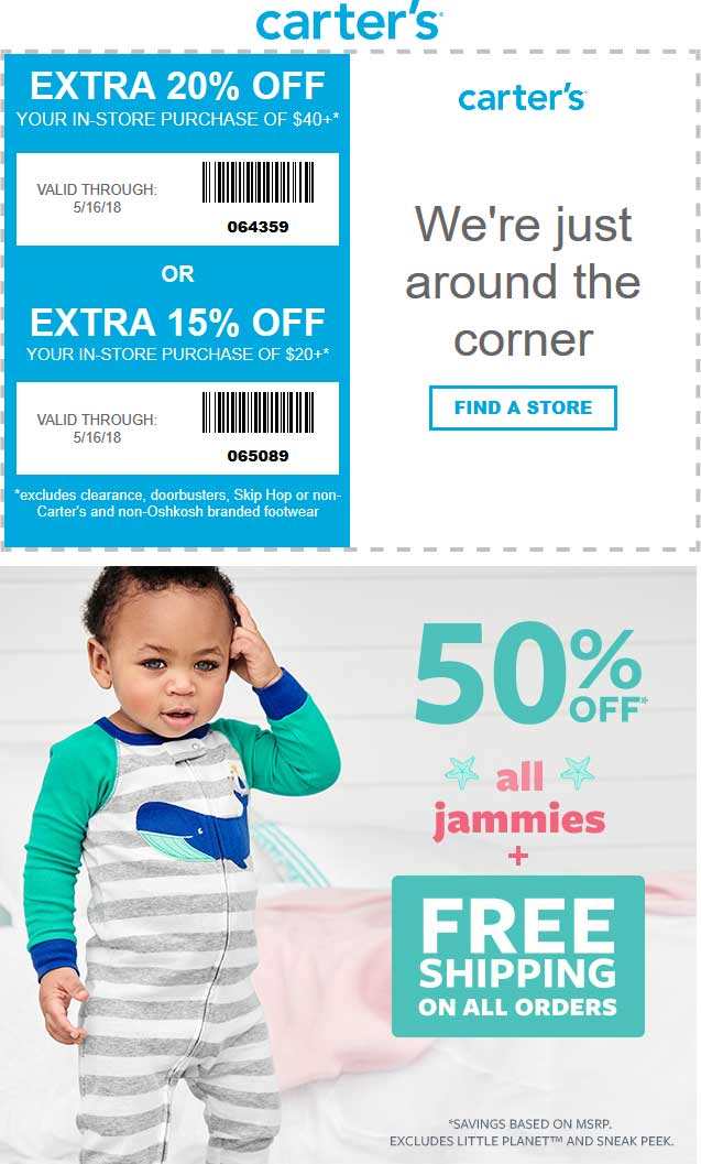 Carters Coupon August 2018 15-20% off at Carters