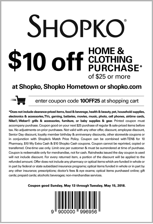 Shopko Coupon April 2019 $10 off $25 at Shopko, or online via promo code 10OFF25