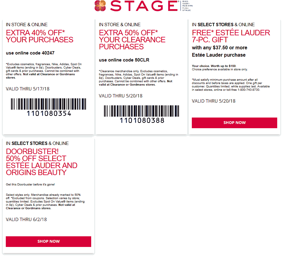 Stage.com Promo Coupon Extra 40% off & more at Stage, or online via promo code 40247