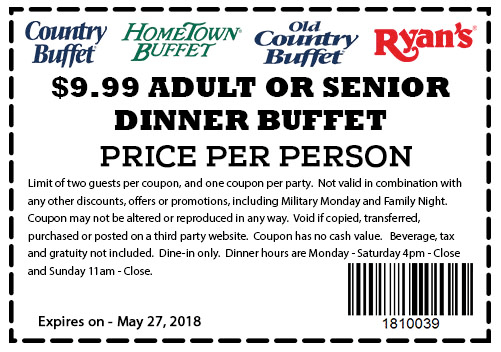 Hometown Buffet Coupon January 2019 $10 dinner buffet at HomeTown Buffet, Old Country Buffet & Ryans