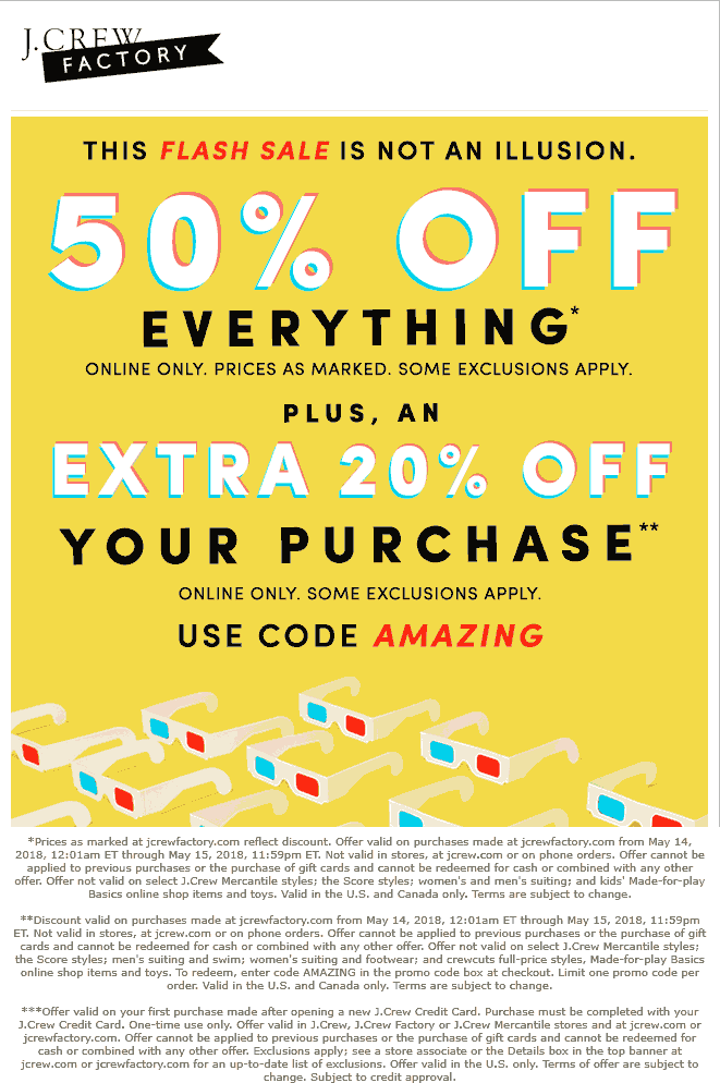 J.Crew Factory Coupon October 2018 70% off online today at J.Crew Factory via promo code AMAZING