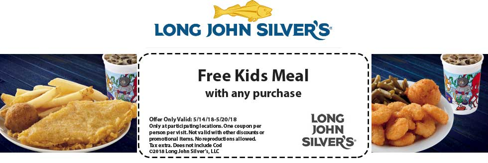 Long John Silvers Coupon November 2018 Free kids meal with any order at Long John Silvers