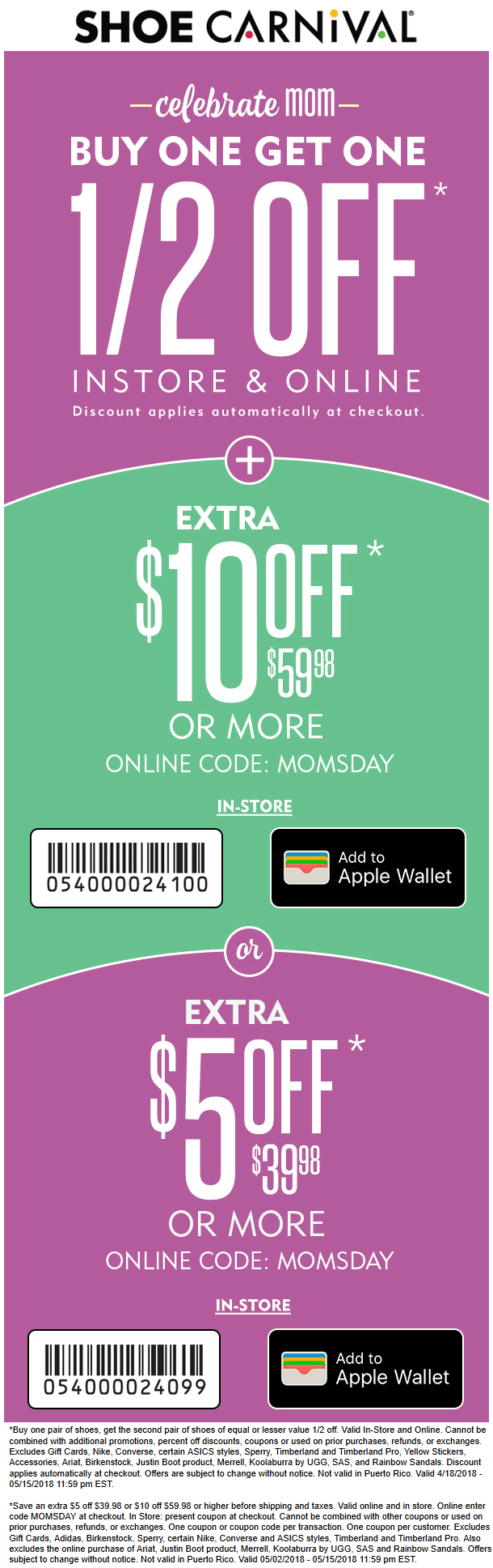Shoe Carnival Coupon February 2019 $10 off $60 + 2nd pair 50% off today at Shoe Carnival, or online via promo code MOMSDAY