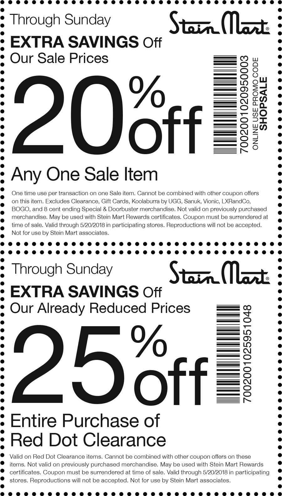 Stein Mart Coupon August 2018 20% off & more at Stein Mart, or online via promo code SHOPSALE