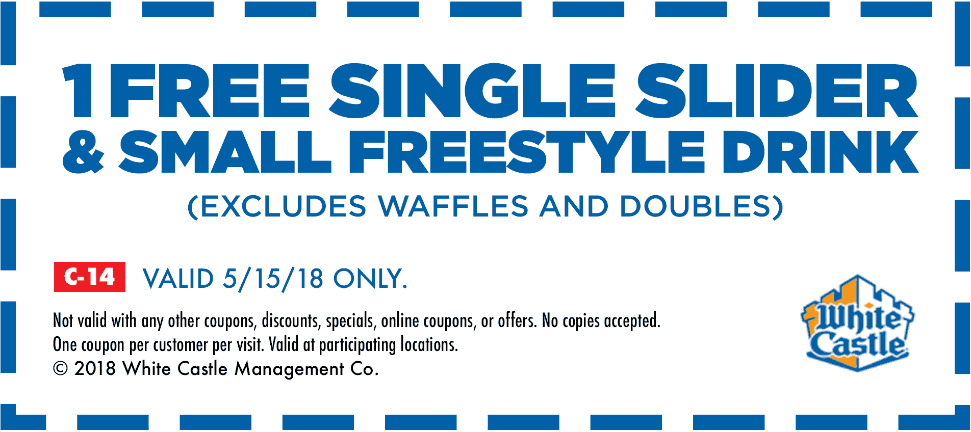 White Castle Coupon August 2018 Free slider + drink today at White Castle restaurants