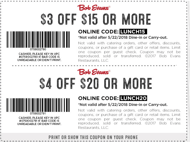 Bob Evans Coupon May 2019 $3 off $15 & more at Bob Evans restaurants