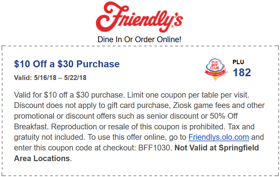 Friendlys Coupon October 2018 $10 off $30 at Friendlys restaurants