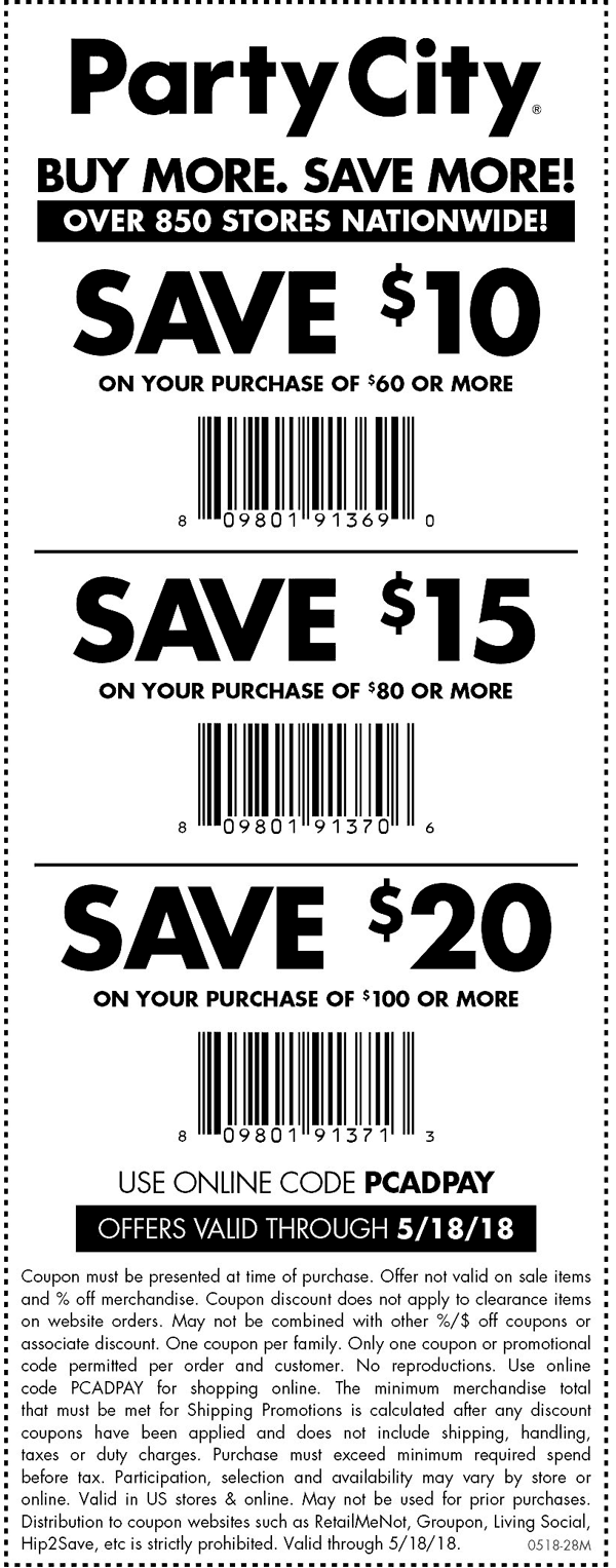 Party City Coupon October 2018 $10 off $60 & more at Party City, or online via promo code PCADPAY