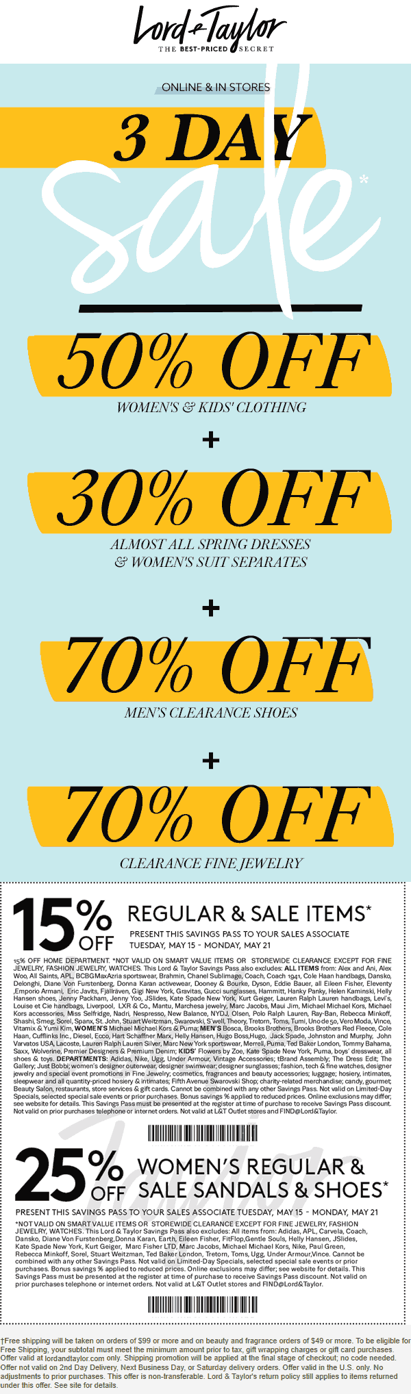 Lord & Taylor Coupon June 2019 15-70% off at Lord & Taylor, or online via promo code VIP